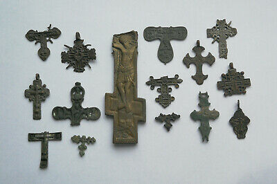 Job Lot of ancient broken bronze rare crosses