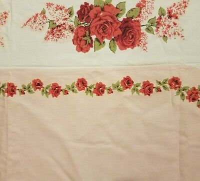 """Lovely Vintage Pink Rose Floral Tablecloth Cottage Shabby Old Chic 54""""x61"""" Nice"""
