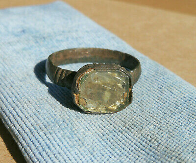 Rare Ancient Viking Old Bronze Ring With Clear Glass