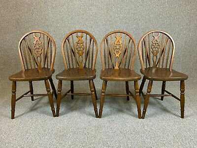 4 Wheel Back Dining Chairs Oak Country Style Chairs - Delivery Available