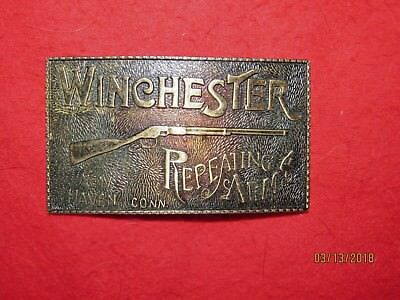 Vintage 1970's Winchester Rifle Repeating Arms New Haven CT metal Belt Buckle