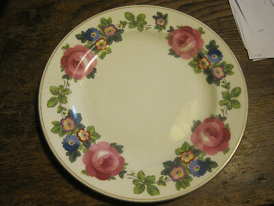 "VTG E Hughes & Co Staffordshire England China Pink Rose 7.75"" LUNCHEON PLATE"