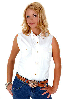 7d730024 Roper Womens White 100% Cotton Sleeveless Solid Poplin Snap Western Shirt