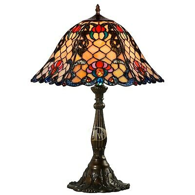 Large Tiffany Style Table Lamp, Vintage Glass Lamp, Stained Leaded Glass Shade