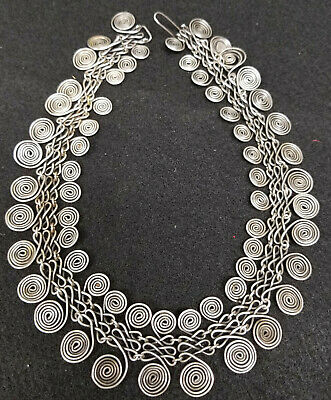 Antique Sterling Silver Hallmarked Signed Designer Mexican MCM Necklace Abstract