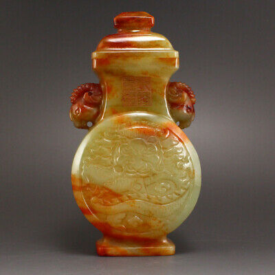 """6"""" China antique hetian jade 100% Natural handcarved double sheep Dragon Vase"""