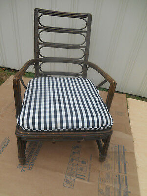 Antique HEYWOOD WAKEFIELD Ornate Rattan Chair w/ Spring Loaded Seat
