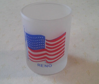 Reno , Nevada American Flag Frosted Shot Glass