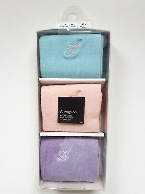 BNWT M&S Autograph 3 Pairs of Boxed Girls Luxury Socks Size 4-7 for  11+ years