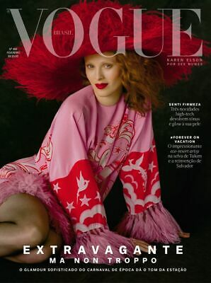 VOGUE  BRAZIL FEBRUARY 2019 KAREN ELSON Fashion Magazine No 486 Pink
