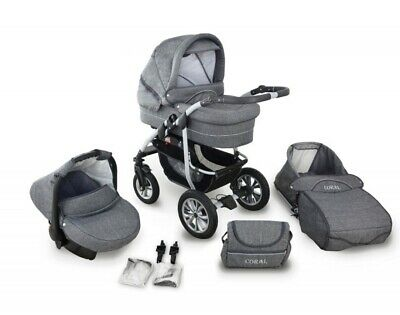 New Coral Grey Linen Baby Pram Pushchair Travel System 3in1  or 2in1