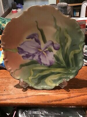 Antique Limoges France Handpainted Purple Iris Signed Max 10 Inch Plate