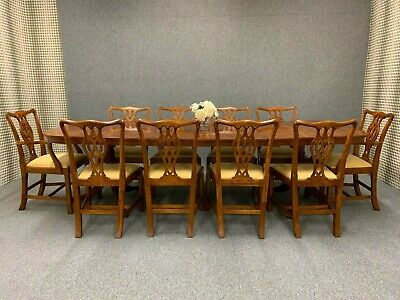 Large Mahogany Dining Table & 10 Chairs - Antique Regency Style Chippendale **