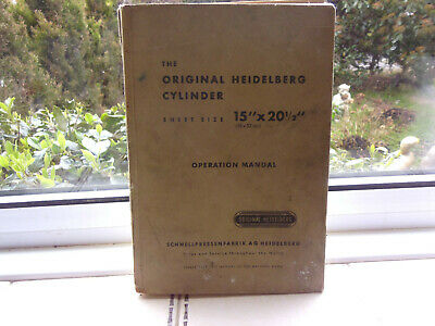 original Heidelberg cylinder manual printing tools collectable vintage 1957 book