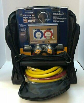 Yellow Jacket P51-870 Titan™ 4-Valve Digital Manifold 40870 w/ Hoses