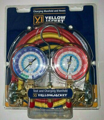 "Yellow Jacket 42006 Refrigeration Manifold with 60"" Hoses, R-22 / 404a / 134a"