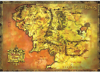 Vintage Lord of THe Rings Middle Earth Map 2000s