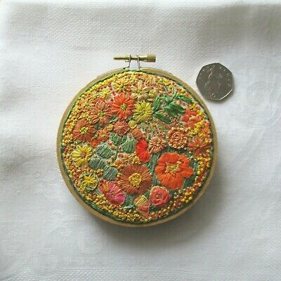 """OOAK hand-stitched small ready to hang embroidery art hoop approx 4"""""""