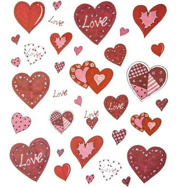 27a0b8b5e223f8 2 Sheets Patchwork Hearts Stickers Papercraft Planner Supply Valentine's Day