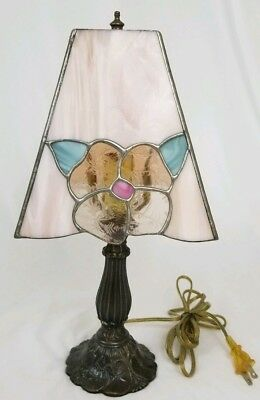 Vintage Tiffany style stained glass table lamp boudoir dresser Victorian