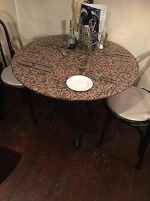 Marble Table With Vintage Cast Iron Legs