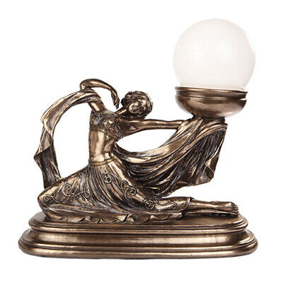 """11"""" x 11.5"""" Art Nouveau On the Move Maiden With Frosted Glass Globe Accent Lamp"""