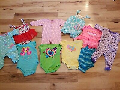bfa82aba3 6-9 MONTH BABY girl clothes lot 10 one piece pajamas lot - $10.54 ...
