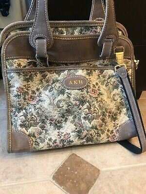 ead01c759439 FRENCH LUGGAGE COMPANY Gray Rose Tapestry Large Satchel Suitcase ...