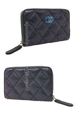 fe3e318dc382 CHANEL NWOT 19S Iridescent Black Zippy Coin Purse / Cardholder with LGHW