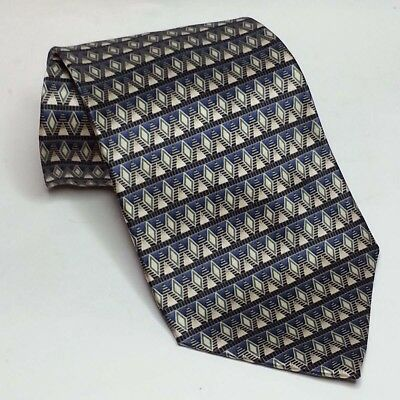 "Van Heusen Men Dress Silk Tie Blue Yellow Print 4"" wide 58"" long"