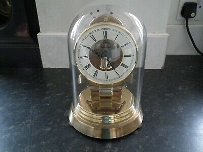 Vintage  Kundo Electronic German Brass Mantel Clock & Dome