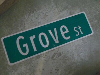 "Vintage Original GROVE ST  Street Sign 30"" X 9"" ~ White on Green"