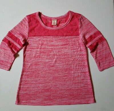 ARIZONA JEAN CO. Girls Fushcia Pink ¾ Length Sleeve Floral Lace Top Size 10/12