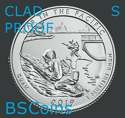 2019 S ATB War In Pacific, GU - Clad PROOF Quarter Gem Deep Cameo - Ship TODAY!!