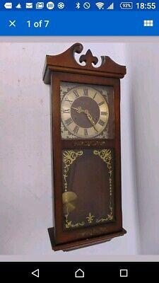 Contemporary PRESIDENT Korean Wooden Wall Clock With Pendulum & Chimes fwo