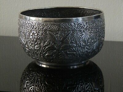 LARGE VERY FINE ANTIQUE INDIAN [LUCKNOW]  SOLID SILVER REPOUSSE BOWL 343g