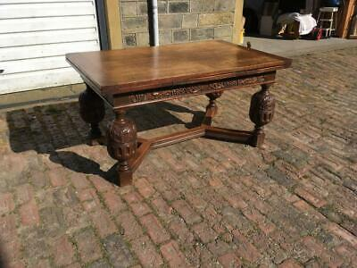 Quality Antique Oak Refectory Draw Leaf Dining Table