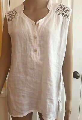 c7546f7e0f7 Carla Conti Women s Size M Medium White Linen   Lace Tank Shirt Made in  Italy