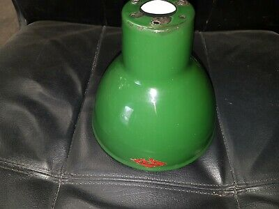 Vintage Green Enamel Industrial Machinist  Lamp Shade  Edl  Used