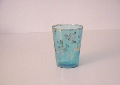 #1 Antique Collectible Decorative Glass Victorian Hand Painted Tumbler Blue