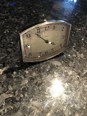 Vintage Art Deco Clock. Early 50s Enfield 8day Chrome Bezel Small Table Clock .