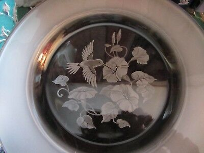 Beautiful Glass Plate With Hummingbird Etching