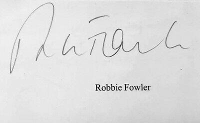 Robbie Fowler HAND SIGNED White Card Liverpool Man City Legend *In Person*COA