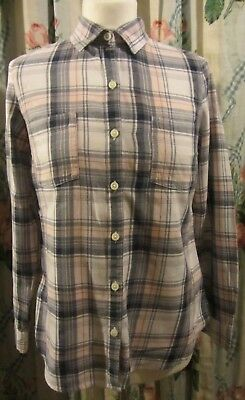 Old Navy-Ladies Pink & Blue Check Brushed Cotton Shirt Size XS