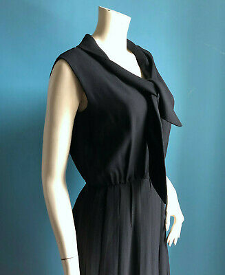 Vintage 1950s Summer Sleeveless Black Dress Pomette Fashions sz 12 14