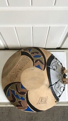 Large Unusual Handmade Folk Art Wooden Bowl With Metalwork.