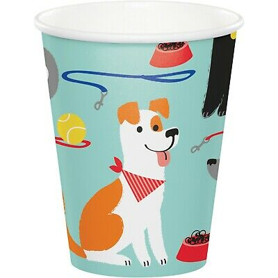 8 x Hot / Cold Cups PUPPY DOG Party Birthday Pet Canine Event Tableware Supplies