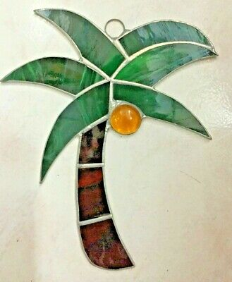 Palm Three - Handmade Stained Glass - Sun catcher - 7'' x 6'' inches