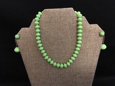 TRIFARI ~ Signed ~ Lime Green Necklace & Clip Earring Set ~ Retro Mod ~