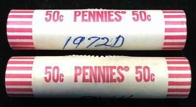 Lot Of 2 - 1972-D Lincoln Memorial Cent Obw Bu Rolls - Original Bank Wrapped
